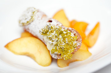 Traditional Sicilian cannoli dessert