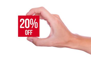 20 Percent off symbol handheld isolated on white background