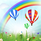 Spring landscape with hot air balloons and rainbow