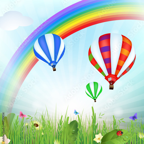 Spring landscape with hot air balloons and rainbow - 44730856