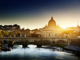 Fototapety view on Tiber and St Peter Basilica