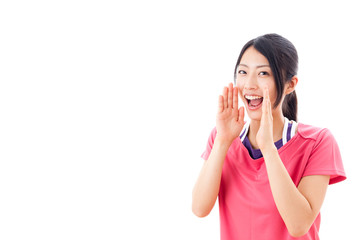 young asian woman cheering on white background