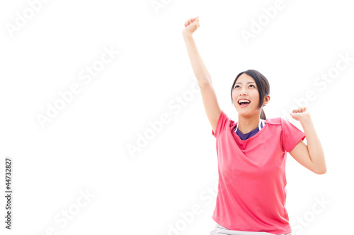 attractive asian woman relaxing on white background