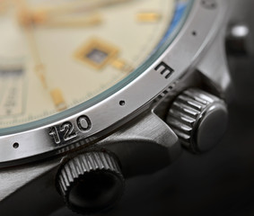 luxury man watch detail, chronograph close up