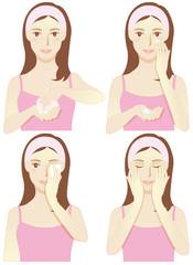 スキンケアする女性4パターン