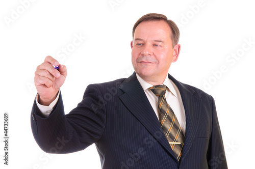 Businessman holds a marker