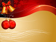 red and cream colored background with bells and balls