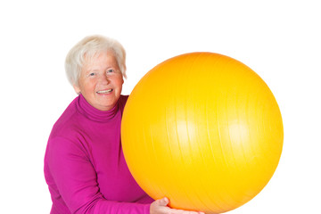 Elderly senior woman with gym ball