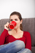 Woman relaxing with a coffee