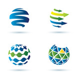 Abstract globe icons