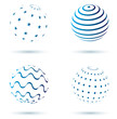 Abstract set of globe icons