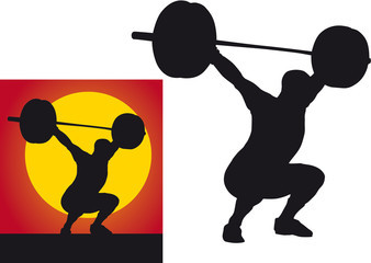 Weightlifter silhouette on a white background