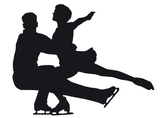 Figure skater silhouette on a white background