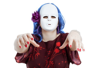Scary horror masked woman