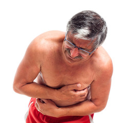 Senior man with painful stomach