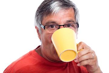 Senior man drinking