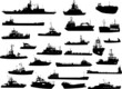 Set of 25 silhouettes of sea yachts, towboat and the ships