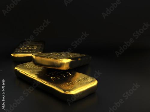 canvas print picture physical gold bullions ingots, golden bars