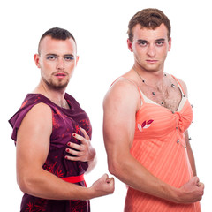 Transvestites showing muscles