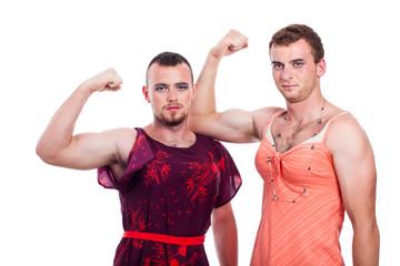 Transvestites showing biceps