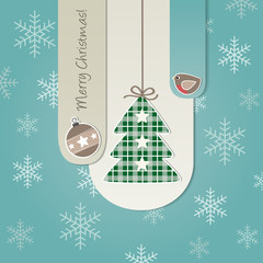Merry Christmas - stripes - ball, tree and little bird