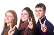 Teenage Students Making Victory or Peace Sign