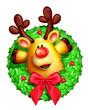 Whimsical Cartoon Christmas Wreath with Reindeer
