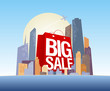Big sale shopping bag in city, vector poster