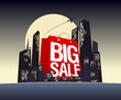 Big sale shopping bag in night city, vector poster