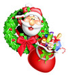 Whimsical Cartoon Christmas Wreath with Santa and Gift Bag