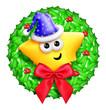 Whimsical Cartoon Christmas Wreath with Cute Star
