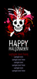 Happy Halloween Design template with grunge skull and place for