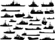 Set of 26 silhouettes of sea yachts, towboat and the ships - 44738212