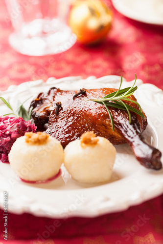 Roasted duck leg with potato dumplings for christmas