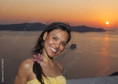 beautiful girl posing in Santorini island,Greece