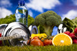 Fitness diet, vitamins and green grass