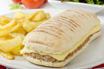 Tuna Melt - Cheese and tuna panini served with salad and chips.