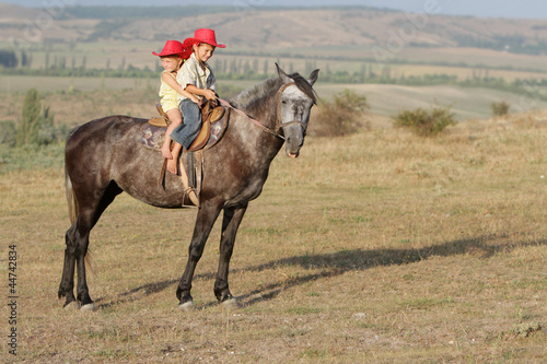 two young happy children riding horse on natural background