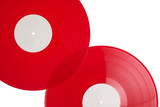 Red vinyl records isolated on white