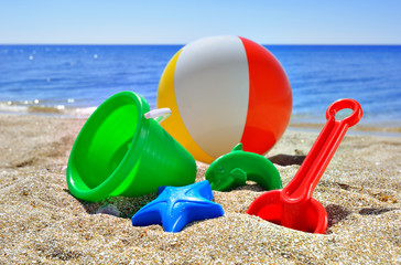 Children's toys on the beach