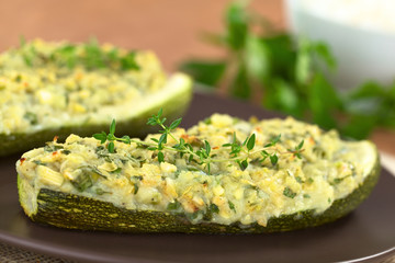 Baked Zucchini Stuffed with Herbs, Potato and Cheese