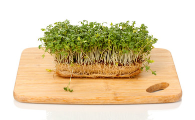 Fresh cress salad on wooden board isolated on white