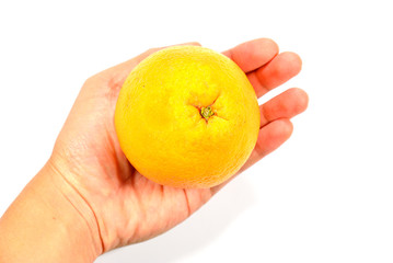 Hand hold appetizing fresh orange - healthy eating concept