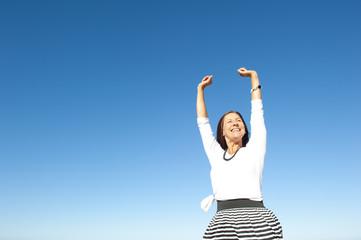Joyful active senior woman