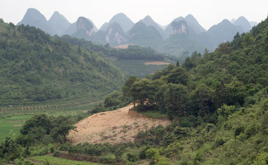 Mountain and rice fields of Yangshuo. China, Guilin, Asia.