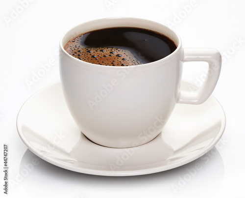 Foto op Canvas Koffie Coffee cup and saucer on a white background.