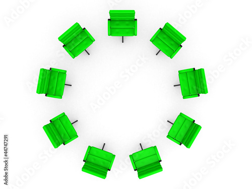 Eight office chairs in circle