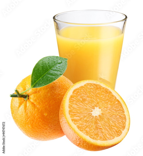 Orange juice with ripe orange