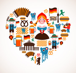 Heart shape with Germany icons