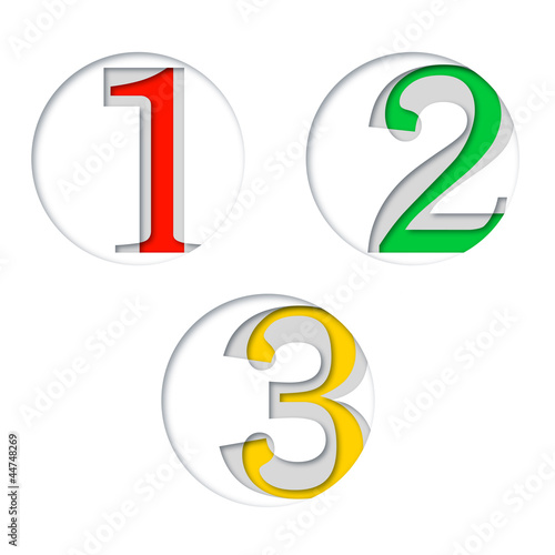 One two three - Paper cutout with number #Vector